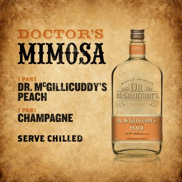 1 part Dr. McGillicuddy's Peach, 1 part champagne, Serve chilled.