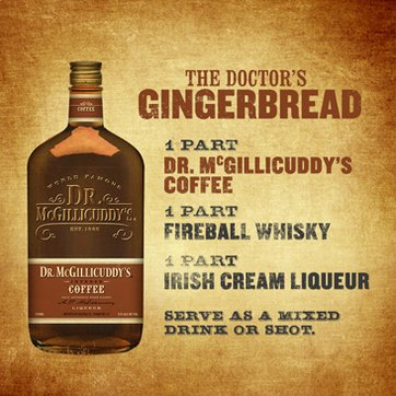 1 part Dr. McGillicuddy's Coffee, 1 part Irish cream, 1 part Fireball Whisky, Serve as a chilled shot or over ice.