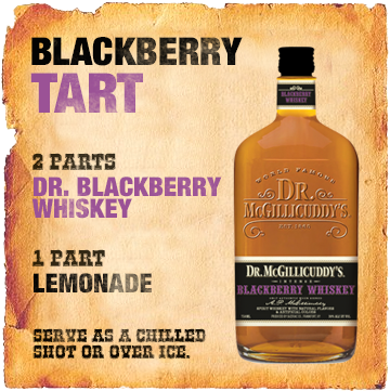 2 parts Dr. Blackberry Whiskey , 1 part lemonade, Serve as a chilled shot or over ice.