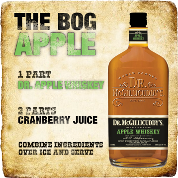 1 part Dr. Apple Whiskey , 2 parts cranberry juice, Combine ingredients over ice and serve.