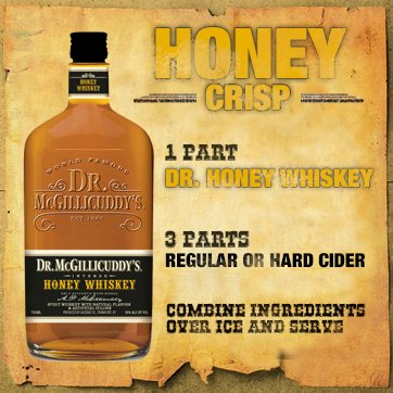1 part Dr. Honey Whiskey , 3 parts regular or hard cider, Combine ingredients over ice and serve.