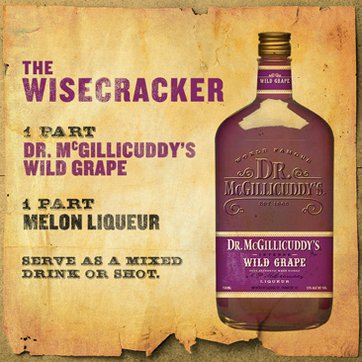 1 part Dr. McGillicuddy's Wild Grape, 1 part melon liqueur, Serve as a chilled shot or over ice.